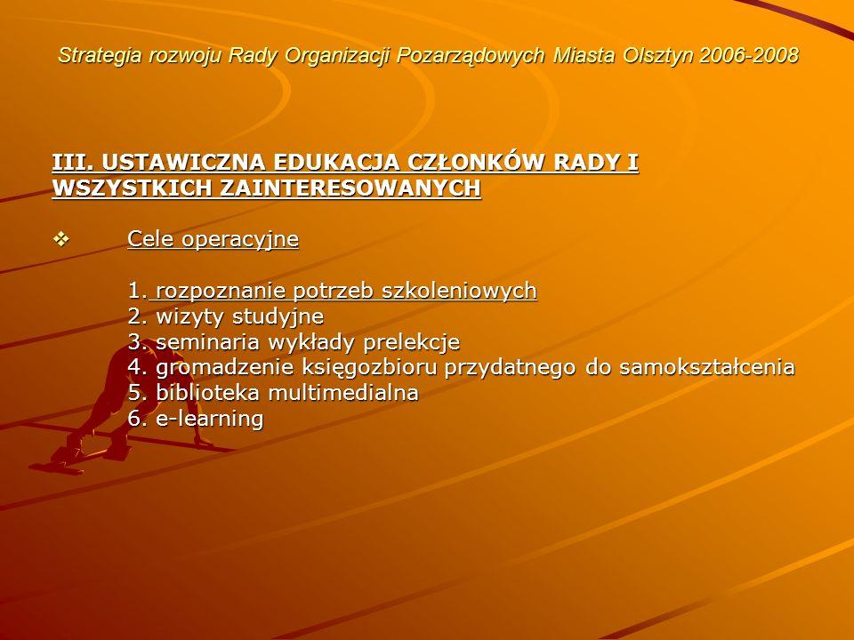 Strategia rozwoju Rady Organizacji Pozarządowych Miasta Olsztyn 2006-2008 III.