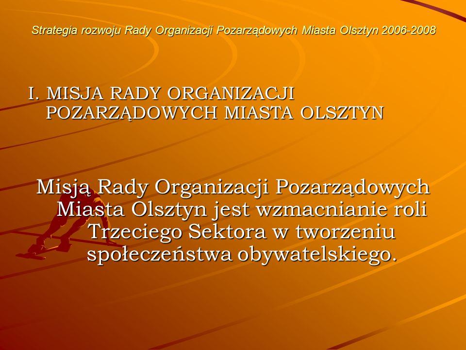 Strategia rozwoju Rady Organizacji Pozarządowych Miasta Olsztyn 2006-2008 Misja będzie realizowana poprzez: koordynację działań poszczególnych organizacji pozarządowych, spełnianie roli mediatora pomiędzy Radą a władzą samorządową i rządową, informowanie o celach i zadaniach Rady, a także relacjonowanie osiągnięć i problemów Rady w massmediach, organizowanie cyklicznych spotkań w celu wymiany informacji i doświadczeń, motywowanie społeczeństwa do szerokiego udziału w zadaniach Rady, udział Rady w konsultacjach przy tworzeniu uchwał, ustaw, strategii lokalnych i regionalnych,
