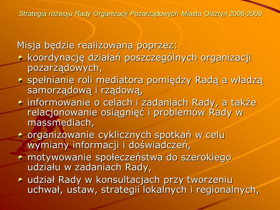 Strategia rozwoju Rady Organizacji Pozarządowych Miasta Olsztyn 2006-2008 Swoje działania Rada Organizacji Pozarządowych Miasta Olsztyn kieruje do organizacji pozarządowych skupionych w Radzie i poza Radą oraz do ogółu społeczności lokalnej - celem wzmacniania procesu tworzenia społeczeństwa obywatelskiego.