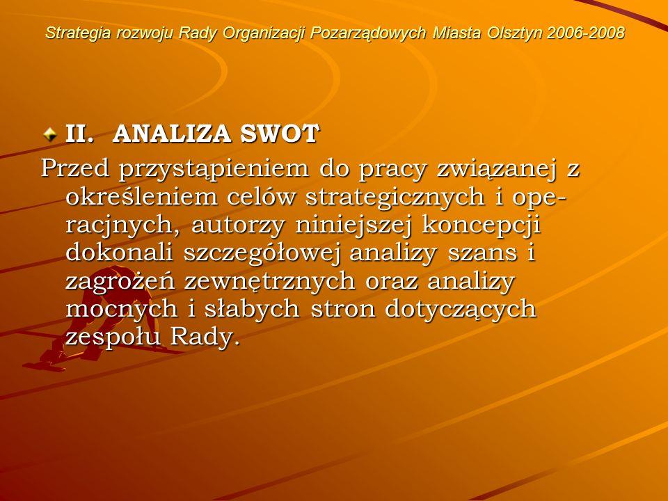 Strategia rozwoju Rady Organizacji Pozarządowych Miasta Olsztyn 2006-2008 ANALIZA WEWNĘTRZNA A.