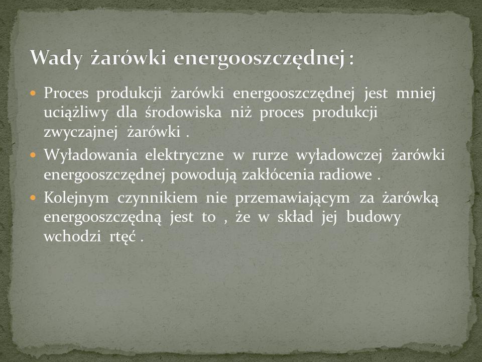 Proces produkcji żarówki energooszczędnej jest mniej uciążliwy dla środowiska niż proces produkcji zwyczajnej żarówki. Wyładowania elektryczne w rurze