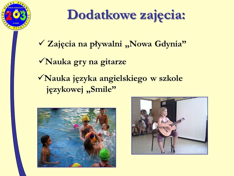 """Dodatkowe zajęcia: Zajęcia na pływalni """"Nowa Gdynia Nauka gry na gitarze Nauka języka angielskiego w szkole językowej """"Smile"""