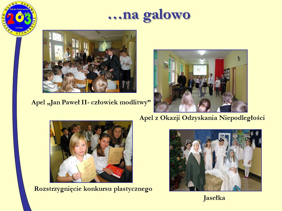 """Apel """"Jan Paweł II- człowiek modlitwy Apel z Okazji Odzyskania Niepodległości Rozstrzygnięcie konkursu plastycznego Jasełka …na galowo"""