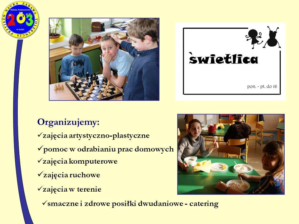 Organizujemy: zajęcia artystyczno-plastyczne pomoc w odrabianiu prac domowych zajęcia komputerowe zajęcia w terenie zajęcia ruchowe smaczne i zdrowe posiłki dwudaniowe - catering