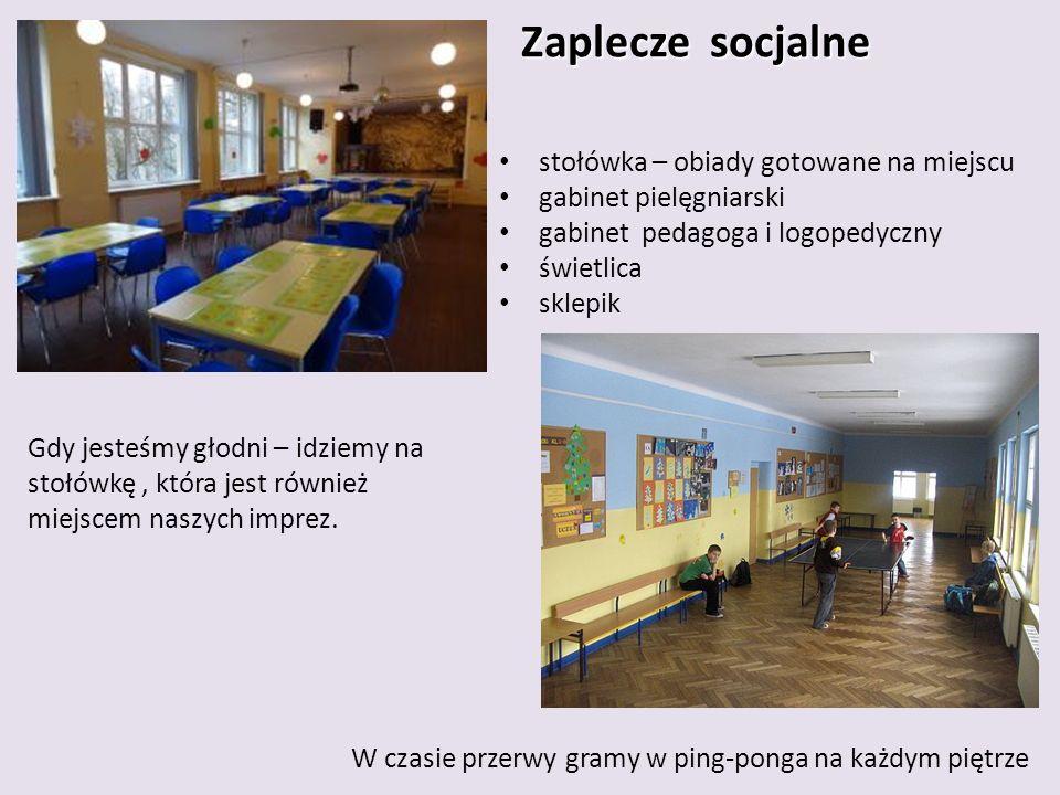 Zaplecze socjalne Zaplecze socjalne Gdy jesteśmy głodni – idziemy na stołówkę, która jest również miejscem naszych imprez.