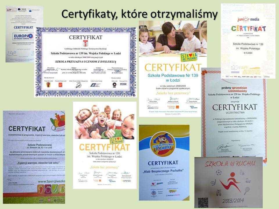 Certyfikaty, które otrzymaliśmy