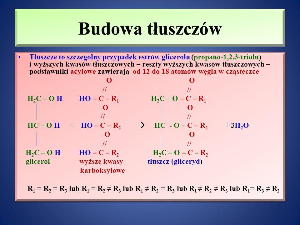 Budowa tłuszczów Tłuszcze to szczególny przypadek estrów glicerolu (propano-1,2,3-triolu) i wyższych kwasów tłuszczowych – reszty wyższych kwasów tłuszczowych – podstawniki acylowe zawierają od 12 do 18 atomów węgla w cząsteczce O O // // H 2 C – O H HO – C – R 1 H 2 C – O – C – R 1 O O // // HC – O H + HO – C – R 2  HC - O – C – R 2 + 3H 2 O O O // // H 2 C – O H HO – C – R 2 H 2 C – O – C – R 2 glicerol wyższe kwasy tłuszcz (gliceryd) karboksylowe R 1 = R 2 = R 3 lub R 1 = R 2 ≠ R 3 lub R 1 ≠ R 2 = R 3 lub R 1 ≠ R 2 ≠ R 3 lub R 1 = R 3 ≠ R 2 Tłuszcze to szczególny przypadek estrów glicerolu (propano-1,2,3-triolu) i wyższych kwasów tłuszczowych – reszty wyższych kwasów tłuszczowych – podstawniki acylowe zawierają od 12 do 18 atomów węgla w cząsteczce O O // // H 2 C – O H HO – C – R 1 H 2 C – O – C – R 1 O O // // HC – O H + HO – C – R 2  HC - O – C – R 2 + 3H 2 O O O // // H 2 C – O H HO – C – R 2 H 2 C – O – C – R 2 glicerol wyższe kwasy tłuszcz (gliceryd) karboksylowe R 1 = R 2 = R 3 lub R 1 = R 2 ≠ R 3 lub R 1 ≠ R 2 = R 3 lub R 1 ≠ R 2 ≠ R 3 lub R 1 = R 3 ≠ R 2