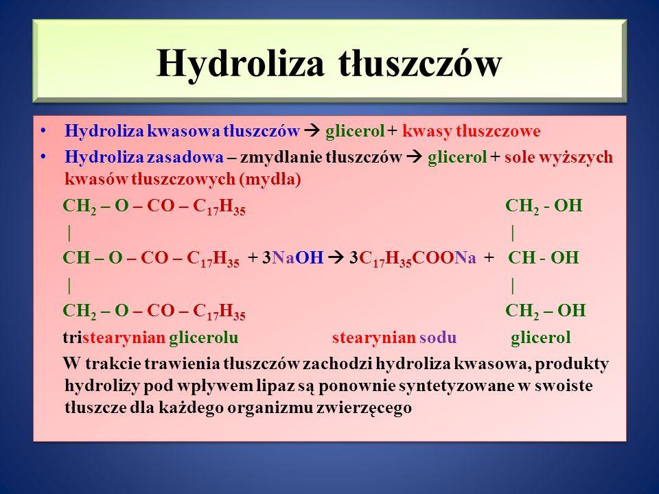 Hydroliza tłuszczów Hydroliza kwasowa tłuszczów  glicerol + kwasy tłuszczowe Hydroliza zasadowa – zmydlanie tłuszczów  glicerol + sole wyższych kwasów tłuszczowych (mydła) CH 2 – O – CO – C 17 H 35 CH 2 - OH     CH – O – CO – C 17 H 35 + 3NaOH  3C 17 H 35 COONa + CH - OH     CH 2 – O – CO – C 17 H 35 CH 2 – OH tristearynian glicerolu stearynian sodu glicerol W trakcie trawienia tłuszczów zachodzi hydroliza kwasowa, produkty hydrolizy pod wpływem lipaz są ponownie syntetyzowane w swoiste tłuszcze dla każdego organizmu zwierzęcego Hydroliza kwasowa tłuszczów  glicerol + kwasy tłuszczowe Hydroliza zasadowa – zmydlanie tłuszczów  glicerol + sole wyższych kwasów tłuszczowych (mydła) CH 2 – O – CO – C 17 H 35 CH 2 - OH     CH – O – CO – C 17 H 35 + 3NaOH  3C 17 H 35 COONa + CH - OH     CH 2 – O – CO – C 17 H 35 CH 2 – OH tristearynian glicerolu stearynian sodu glicerol W trakcie trawienia tłuszczów zachodzi hydroliza kwasowa, produkty hydrolizy pod wpływem lipaz są ponownie syntetyzowane w swoiste tłuszcze dla każdego organizmu zwierzęcego