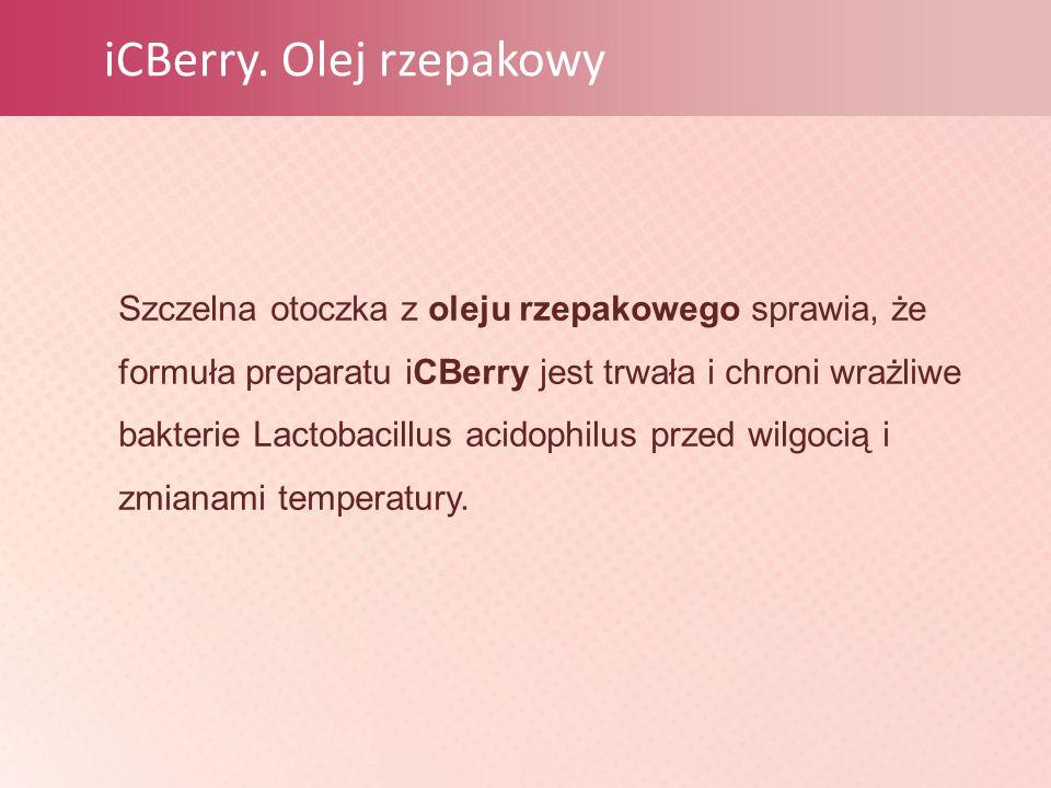 iCBerry. Olej rzepakowy Szczelna otoczka z oleju rzepakowego sprawia, że formuła preparatu iCBerry jest trwała i chroni wrażliwe bakterie Lactobacillu
