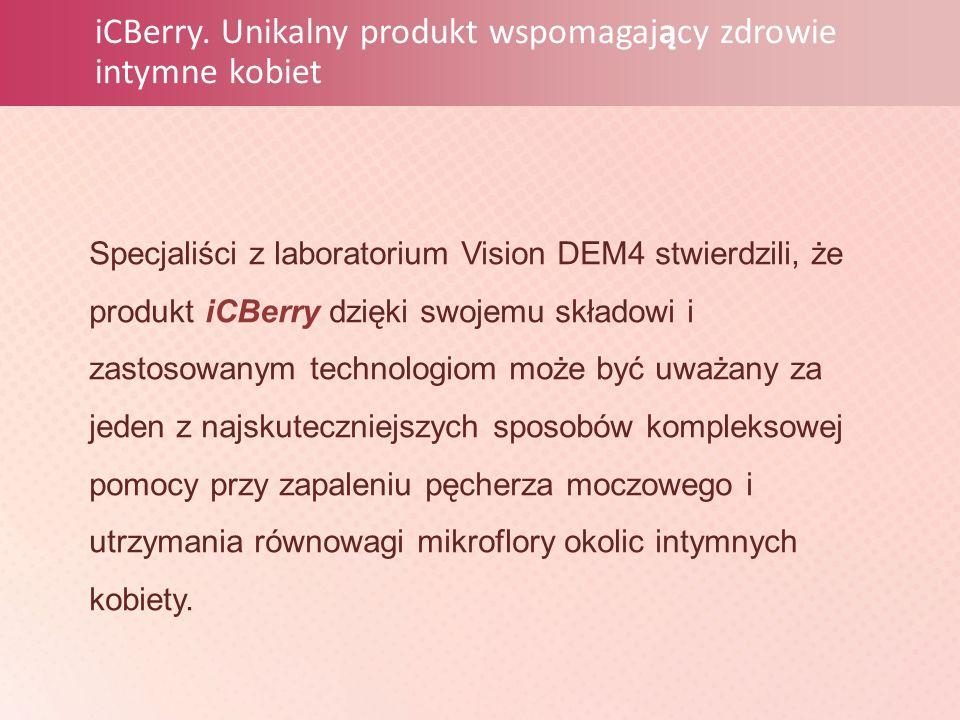 iCBerry. Unikalny produkt wspomagający zdrowie intymne kobiet Specjaliści z laboratorium Vision DEM4 stwierdzili, że produkt iCBerry dzięki swojemu sk