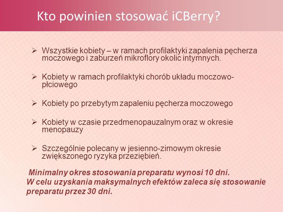 Kto powinien stosować iCBerry?  Wszystkie kobiety – w ramach profilaktyki zapalenia pęcherza moczowego i zaburzeń mikroflory okolic intymnych.  Kobi