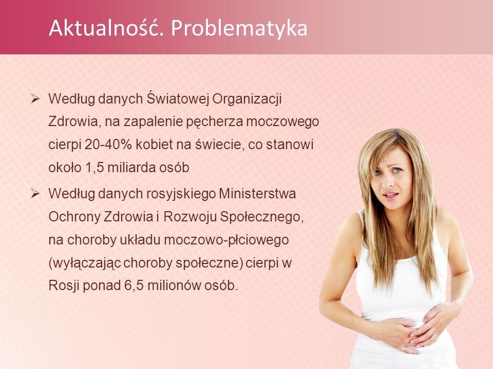  Według danych Światowej Organizacji Zdrowia, na zapalenie pęcherza moczowego cierpi 20-40% kobiet na świecie, co stanowi około 1,5 miliarda osób  Według danych rosyjskiego Ministerstwa Ochrony Zdrowia i Rozwoju Społecznego, na choroby układu moczowo-płciowego (wyłączając choroby społeczne) cierpi w Rosji ponad 6,5 milionów osób.