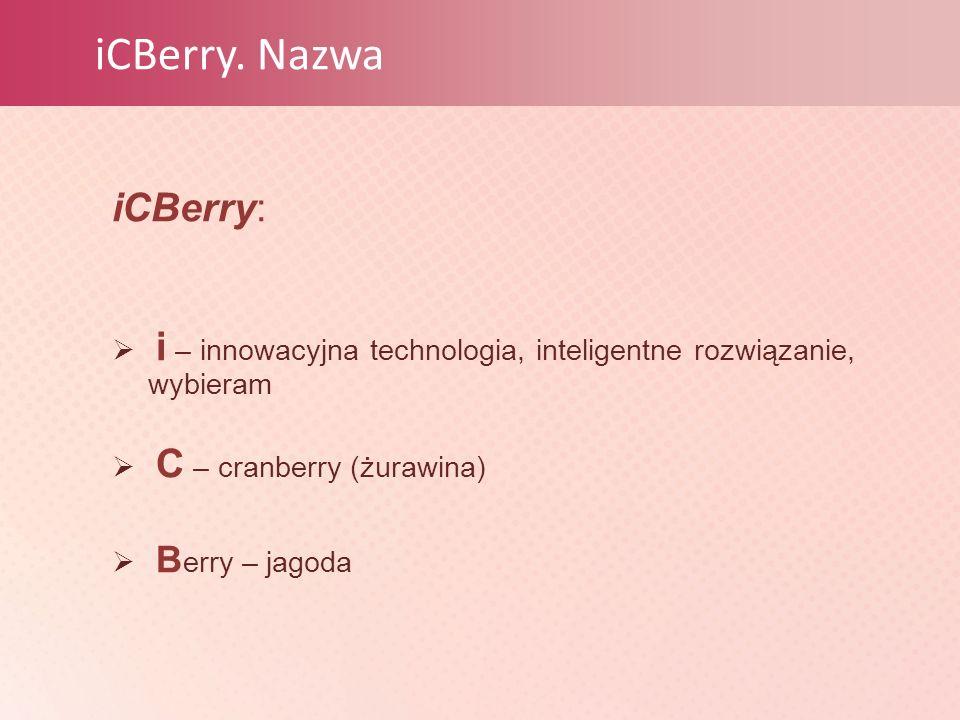 iCBerry. Nazwa iCBerry:  i – innowacyjna technologia, inteligentne rozwiązanie, wybieram  С – cranberry (żurawina)  B erry – jagoda