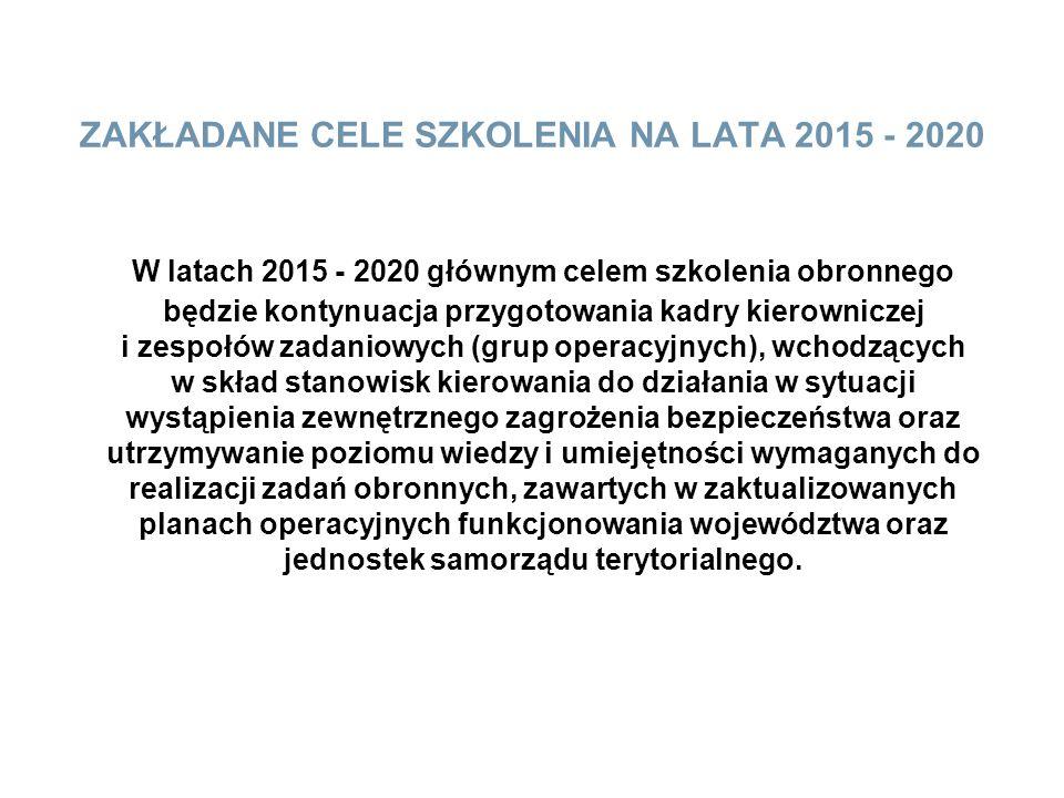 ZAKŁADANE CELE SZKOLENIA NA LATA 2015 - 2020 W latach 2015 - 2020 głównym celem szkolenia obronnego będzie kontynuacja przygotowania kadry kierownicze