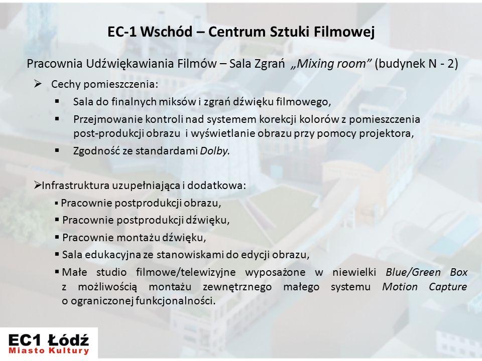 """Pracownia Udźwiękawiania Filmów – Sala Zgrań """"Mixing room (budynek N - 2)  Cechy pomieszczenia:  Sala do finalnych miksów i zgrań dźwięku filmowego,  Przejmowanie kontroli nad systemem korekcji kolorów z pomieszczenia post-produkcji obrazu i wyświetlanie obrazu przy pomocy projektora,  Zgodność ze standardami Dolby."""