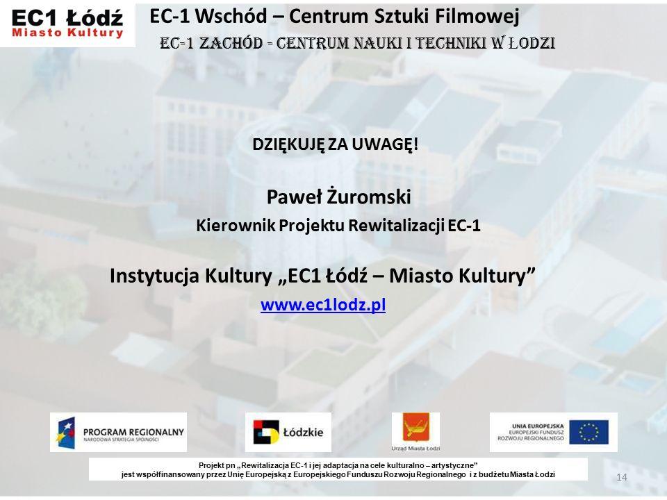 14 EC-1 Wschód – Centrum Sztuki Filmowej DZIĘKUJĘ ZA UWAGĘ.