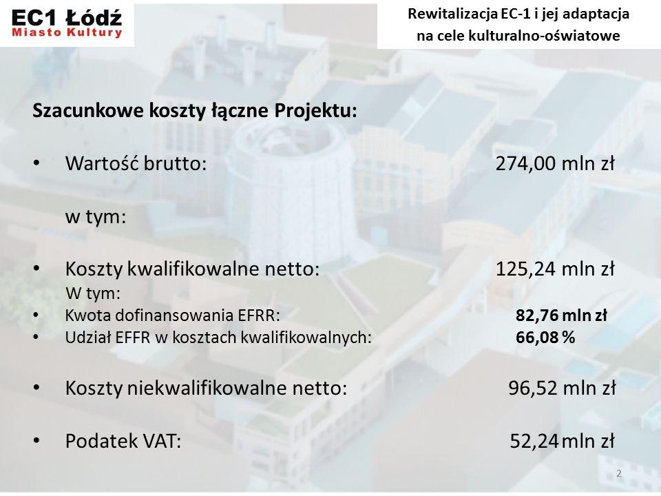 2 Szacunkowe koszty łączne Projektu: Wartość brutto:274,00 mln zł w tym: Koszty kwalifikowalne netto:125,24 mln zł W tym: Kwota dofinansowania EFRR: 82,76 mln zł Udział EFFR w kosztach kwalifikowalnych: 66,08 % Koszty niekwalifikowalne netto: 96,52 mln zł Podatek VAT: 52,24mln zł Rewitalizacja EC-1 i jej adaptacja na cele kulturalno-oświatowe 2