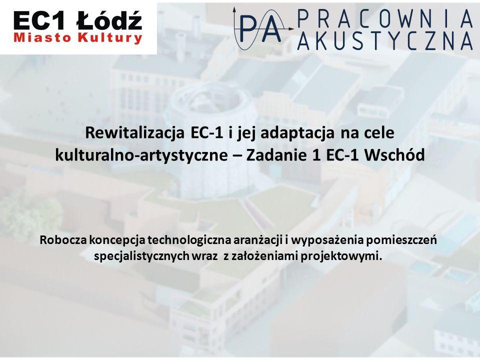Rewitalizacja EC-1 i jej adaptacja na cele kulturalno-artystyczne – Zadanie 1 EC-1 Wschód Robocza koncepcja technologiczna aranżacji i wyposażenia pomieszczeń specjalistycznych wraz z założeniami projektowymi.