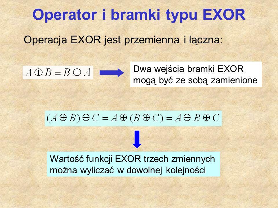 Operator i bramki typu EXOR Operacja EXOR jest przemienna i łączna: Dwa wejścia bramki EXOR mogą być ze sobą zamienione Wartość funkcji EXOR trzech zmiennych można wyliczać w dowolnej kolejności