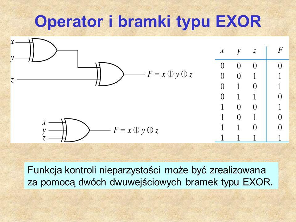 Operator i bramki typu EXOR Funkcja kontroli nieparzystości może być zrealizowana za pomocą dwóch dwuwejściowych bramek typu EXOR.