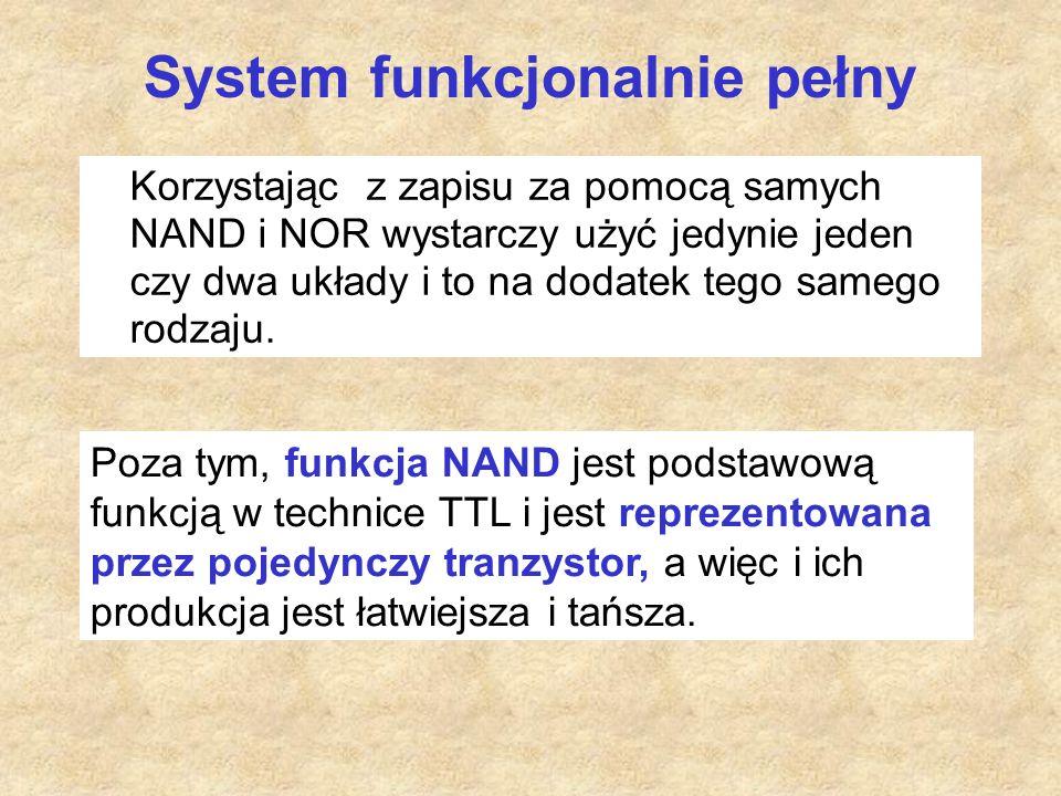 System funkcjonalnie pełny Korzystając z zapisu za pomocą samych NAND i NOR wystarczy użyć jedynie jeden czy dwa układy i to na dodatek tego samego rodzaju.