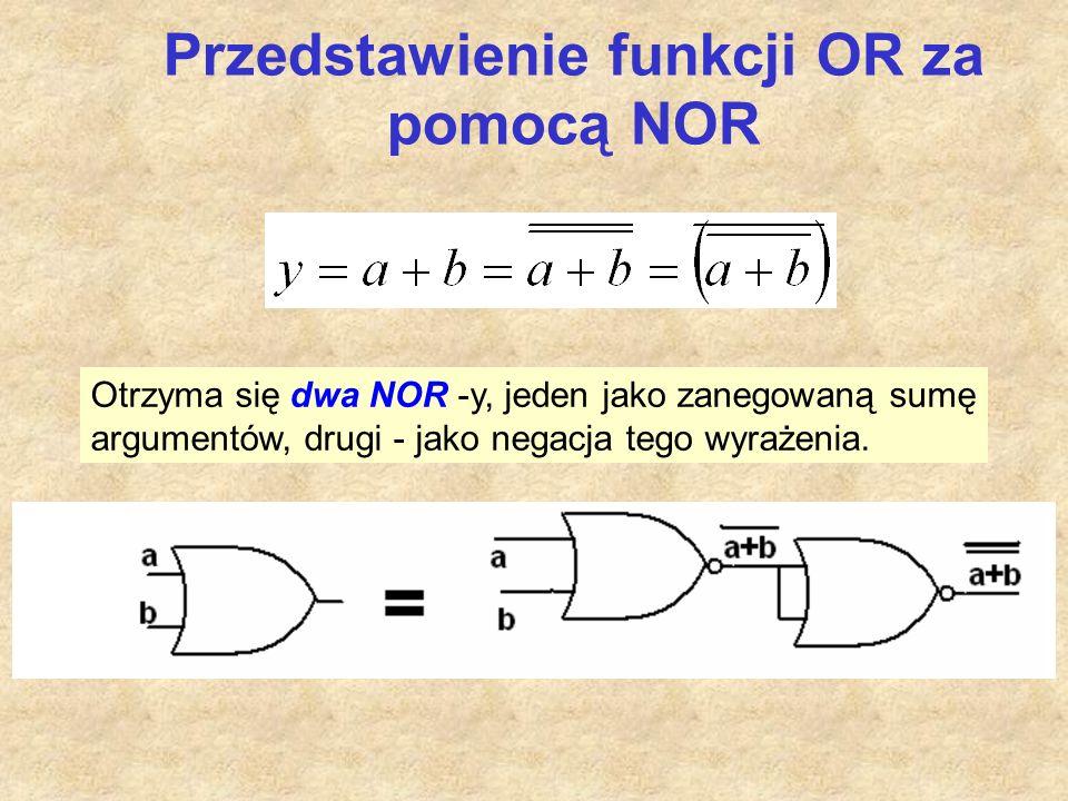 Przedstawienie funkcji OR za pomocą NOR Otrzyma się dwa NOR -y, jeden jako zanegowaną sumę argumentów, drugi - jako negacja tego wyrażenia.