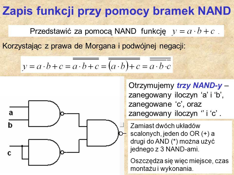 Zapis funkcji przy pomocy bramek NAND Korzystając z prawa de Morgana i podwójnej negacji: Przedstawić za pomocą NAND funkcję.