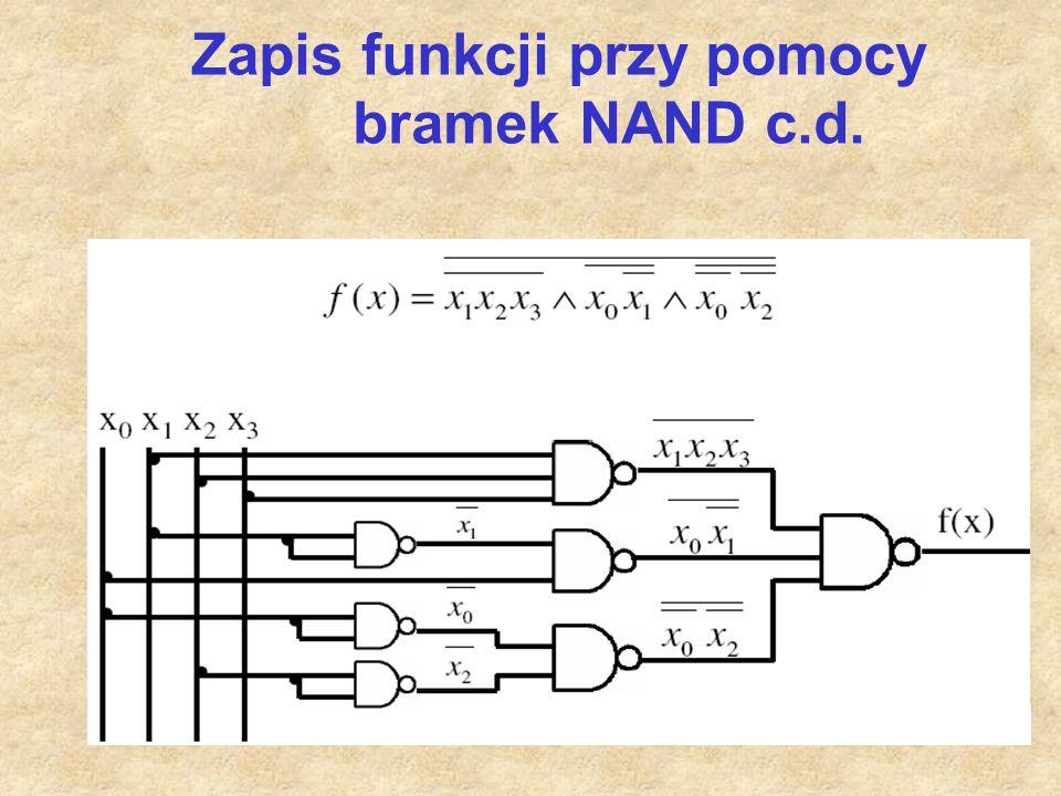Zapis funkcji przy pomocy bramek NAND c.d.