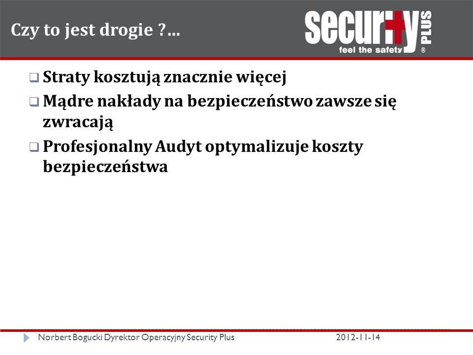Czy to jest drogie … Norbert Bogucki Dyrektor Operacyjny Security Plus2012-11-14  Straty kosztują znacznie więcej  Mądre nakłady na bezpieczeństwo zawsze się zwracają  Profesjonalny Audyt optymalizuje koszty bezpieczeństwa