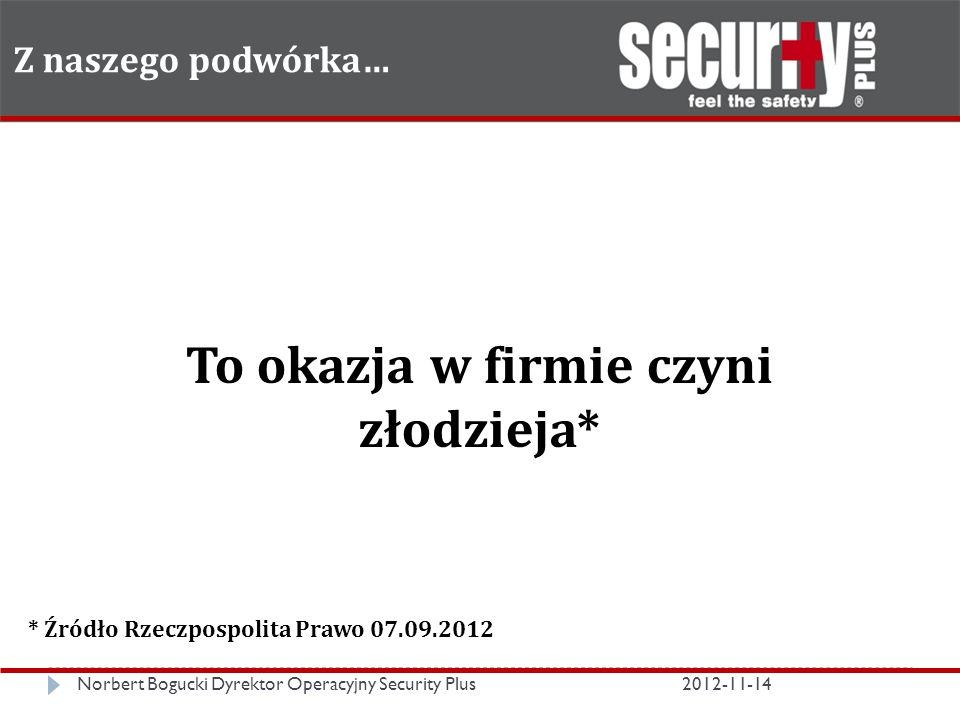 Z naszego podwórka… Norbert Bogucki Dyrektor Operacyjny Security Plus2012-11-14 To okazja w firmie czyni złodzieja* * Źródło Rzeczpospolita Prawo 07.09.2012