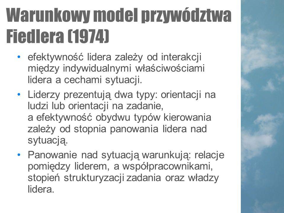 Warunkowy model przywództwa Fiedlera (1974)  efektywność lidera zależy od interakcji między indywidualnymi właściwościami lidera a cechami sytuacji.