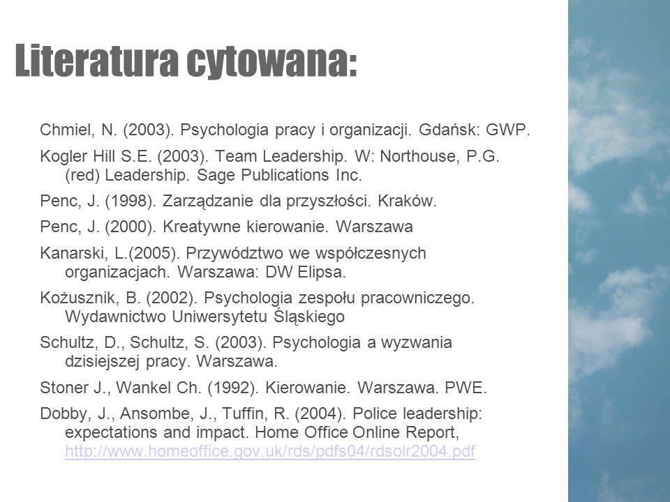 Literatura cytowana: Chmiel, N.(2003). Psychologia pracy i organizacji.