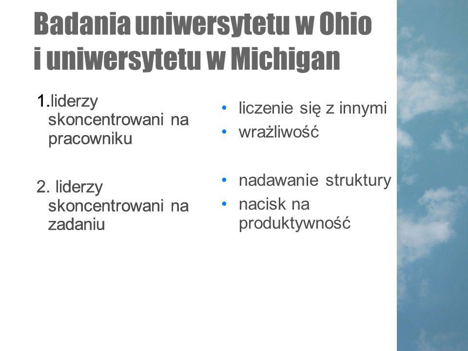 Badania uniwersytetu w Ohio i uniwersytetu w Michigan 1.liderzy skoncentrowani na pracowniku 2.
