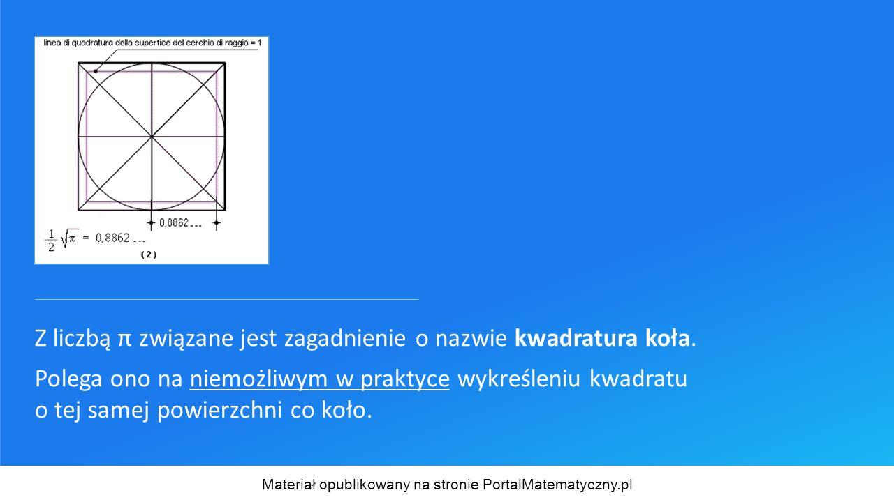 Z liczbą π związane jest zagadnienie o nazwie kwadratura koła. Polega ono na niemożliwym w praktyce wykreśleniu kwadratu o tej samej powierzchni co ko