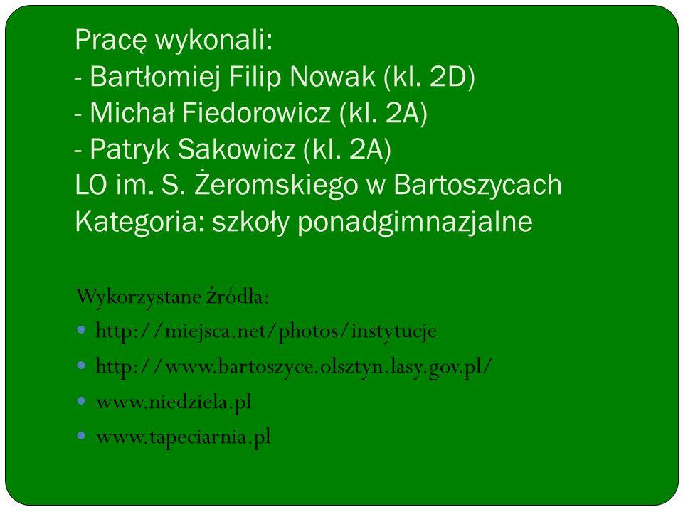 Pracę wykonali: - Bartłomiej Filip Nowak (kl. 2D) - Michał Fiedorowicz (kl. 2A) - Patryk Sakowicz (kl. 2A) LO im. S. Żeromskiego w Bartoszycach Katego