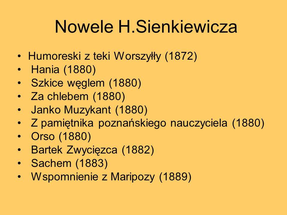 Nowele H.Sienkiewicza Humoreski z teki Worszyłły (1872) Hania (1880) Szkice węglem (1880) Za chlebem (1880) Janko Muzykant (1880) Z pamiętnika poznańs