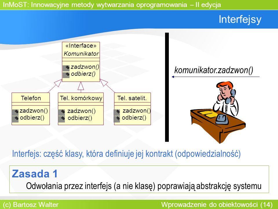 InMoST: Innowacyjne metody wytwarzania oprogramowania – II edycja (c) Bartosz Walter Wprowadzenie do obiektowości (14) Interfejsy komunikator.zadzwon() Komunikator zadzwon() odbierz() TelefonTel.