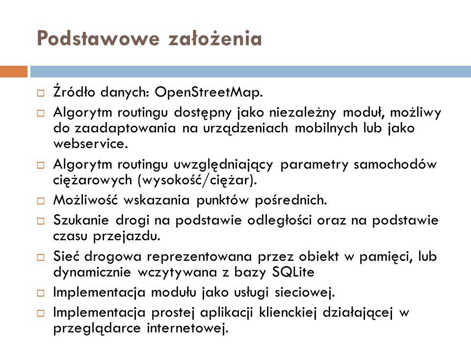 Podstawowe założenia  Źródło danych: OpenStreetMap.