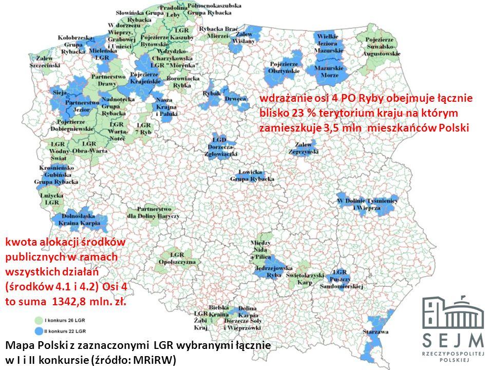 Mapa Polski z zaznaczonymi LGR wybranymi łącznie w I i II konkursie (źródło: MRiRW) wdrażanie osi 4 PO Ryby obejmuje łącznie blisko 23 % terytorium kraju na którym zamieszkuje 3,5 mln mieszkańców Polski kwota alokacji środków publicznych w ramach wszystkich działań (środków 4.1 i 4.2) Osi 4 to suma 1342,8 mln.