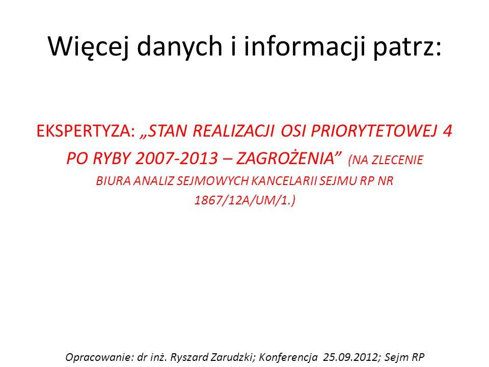 """Więcej danych i informacji patrz: EKSPERTYZA: """"STAN REALIZACJI OSI PRIORYTETOWEJ 4 PO RYBY 2007-2013 – ZAGROŻENIA (NA ZLECENIE BIURA ANALIZ SEJMOWYCH KANCELARII SEJMU RP NR 1867/12A/UM/1.) Opracowanie: dr inż."""