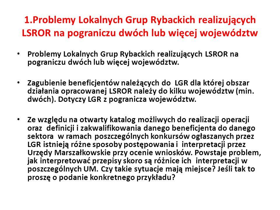 1.Problemy Lokalnych Grup Rybackich realizujących LSROR na pograniczu dwóch lub więcej województw Problemy Lokalnych Grup Rybackich realizujących LSROR na pograniczu dwóch lub więcej województw.