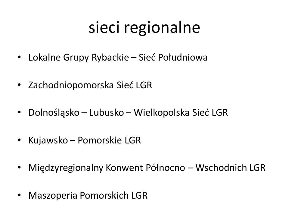 sieci regionalne Lokalne Grupy Rybackie – Sieć Południowa Zachodniopomorska Sieć LGR Dolnośląsko – Lubusko – Wielkopolska Sieć LGR Kujawsko – Pomorskie LGR Międzyregionalny Konwent Północno – Wschodnich LGR Maszoperia Pomorskich LGR