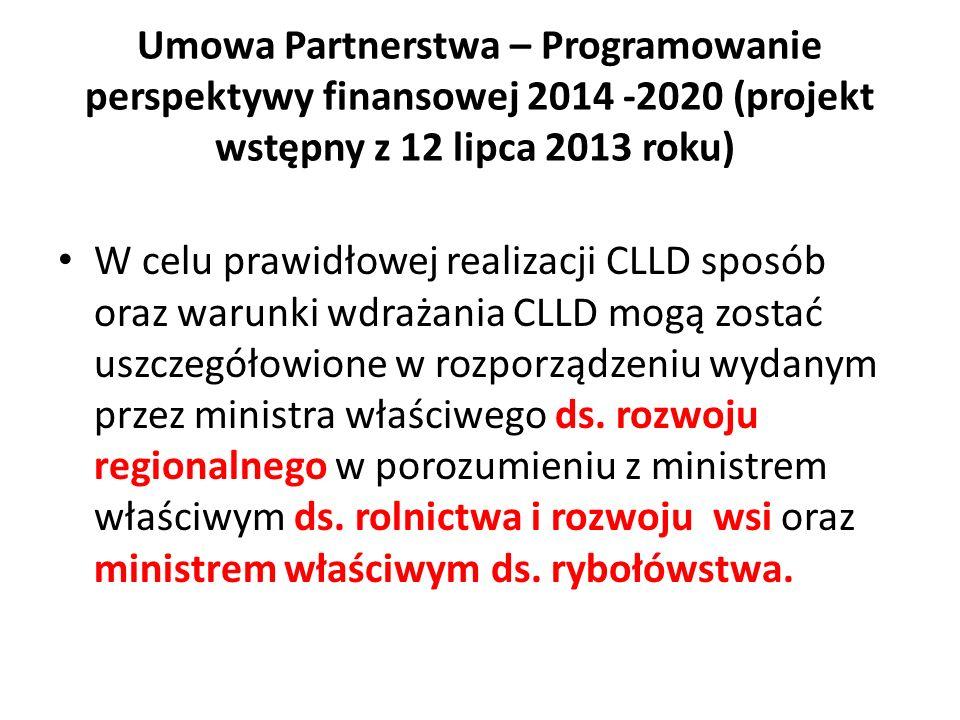W celu prawidłowej realizacji CLLD sposób oraz warunki wdrażania CLLD mogą zostać uszczegółowione w rozporządzeniu wydanym przez ministra właściwego ds.