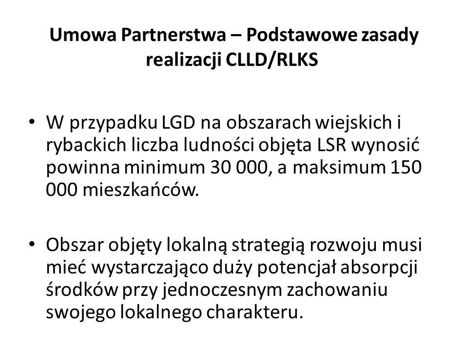 W przypadku LGD na obszarach wiejskich i rybackich liczba ludności objęta LSR wynosić powinna minimum 30 000, a maksimum 150 000 mieszkańców.