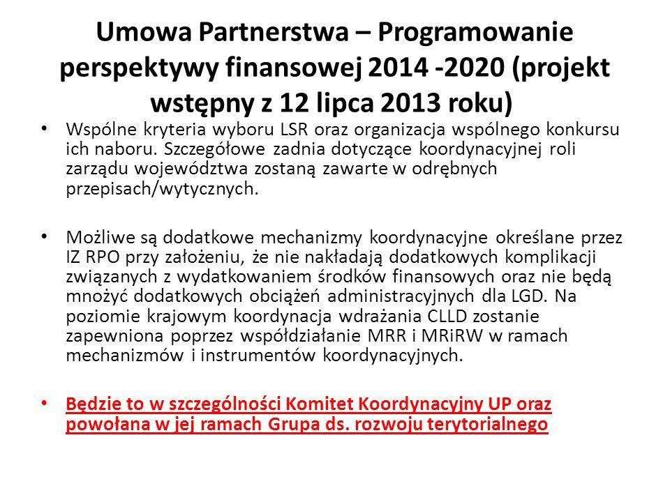 Wspólne kryteria wyboru LSR oraz organizacja wspólnego konkursu ich naboru.