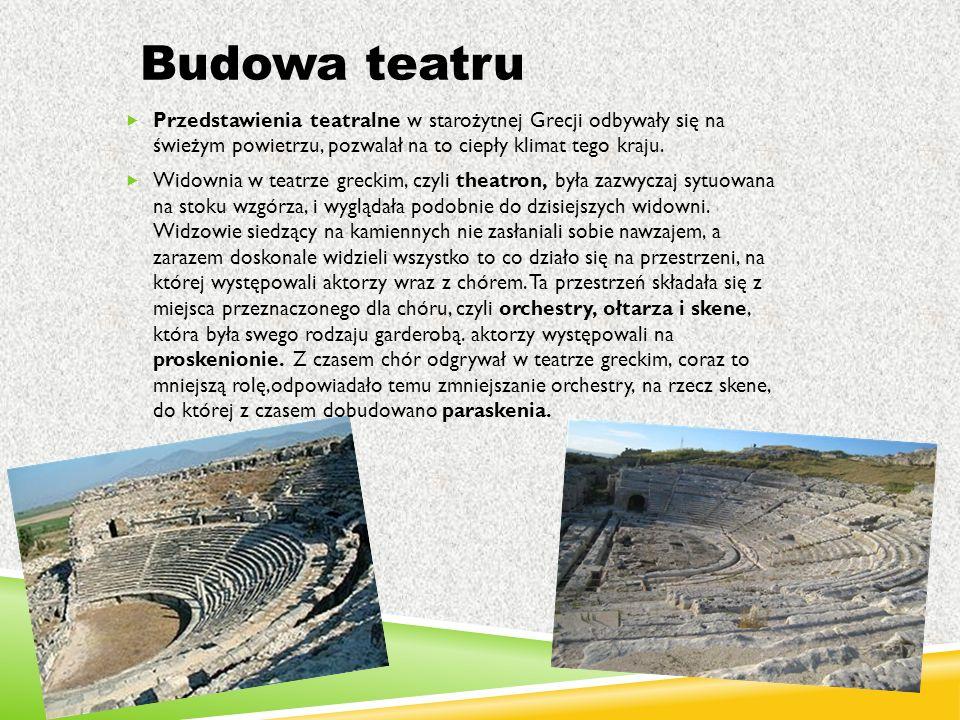 Budowa teatru  Przedstawienia teatralne w starożytnej Grecji odbywały się na świeżym powietrzu, pozwalał na to ciepły klimat tego kraju.