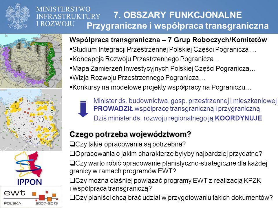 7. OBSZARY FUNKCJONALNE Przygraniczne i współpraca transgraniczna Czego potrzeba województwom.