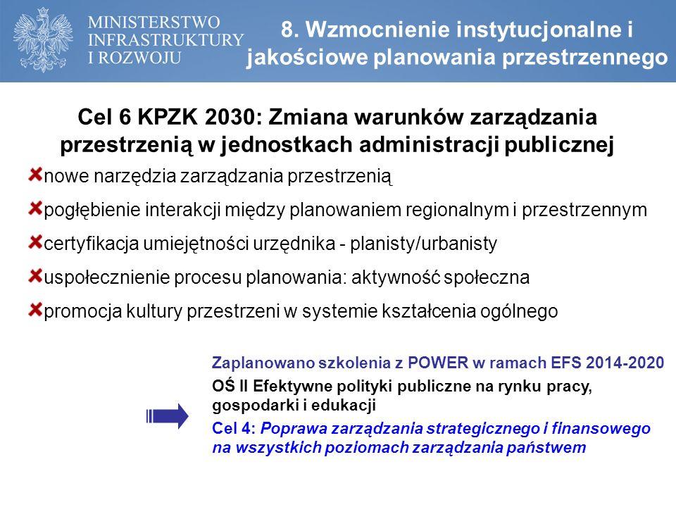 8. Wzmocnienie instytucjonalne i jakościowe planowania przestrzennego Cel 6 KPZK 2030: Zmiana warunków zarządzania przestrzenią w jednostkach administ