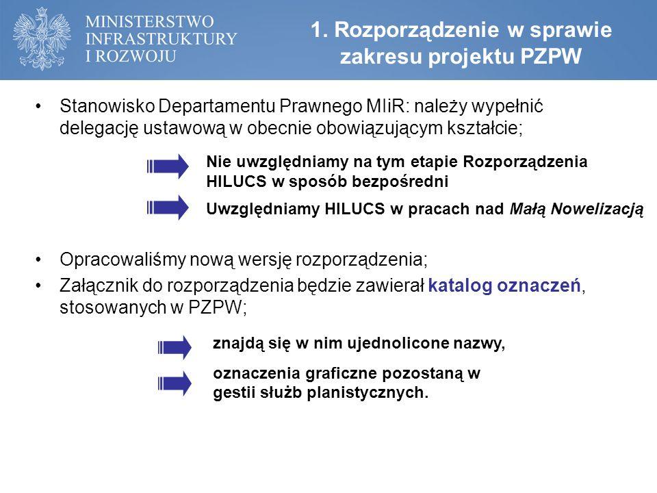 1. Rozporządzenie w sprawie zakresu projektu PZPW Stanowisko Departamentu Prawnego MIiR: należy wypełnić delegację ustawową w obecnie obowiązującym ks