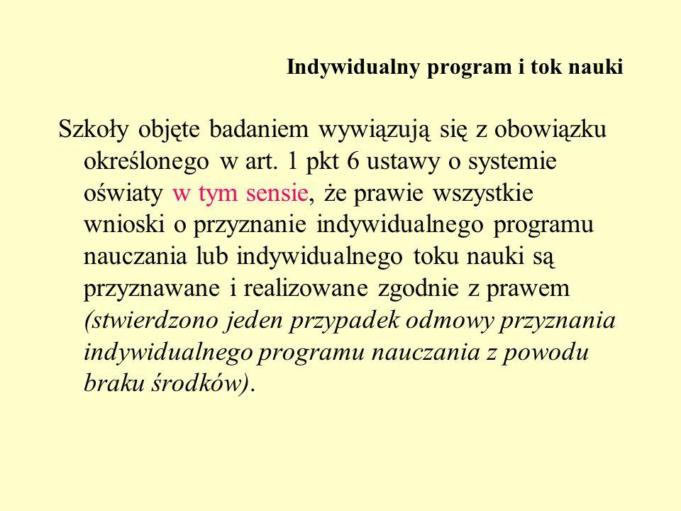 Indywidualny program i tok nauki Szkoły objęte badaniem wywiązują się z obowiązku określonego w art. 1 pkt 6 ustawy o systemie oświaty w tym sensie, ż